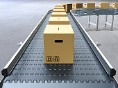 Cardboard boxes on conveyor belt 3D rendering