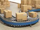 Cardboard boxes on conveyor roller in distribution warehouse, Delivery and packaging service concept. 3d illustration