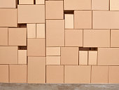 Pile of cardboard boxes. Storehouse.