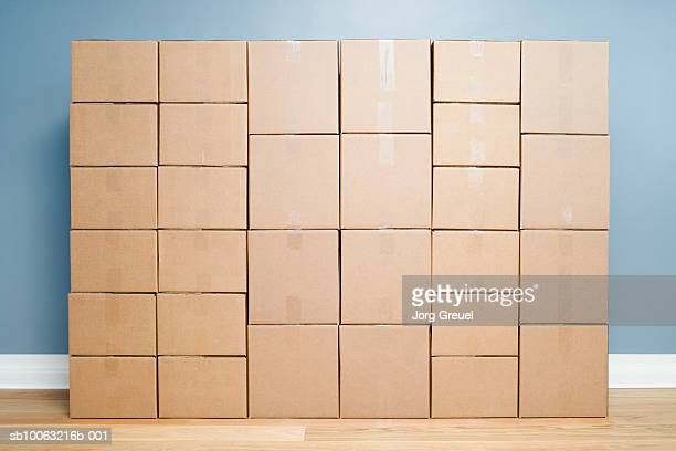 Cardboard boxes stacked one on another
