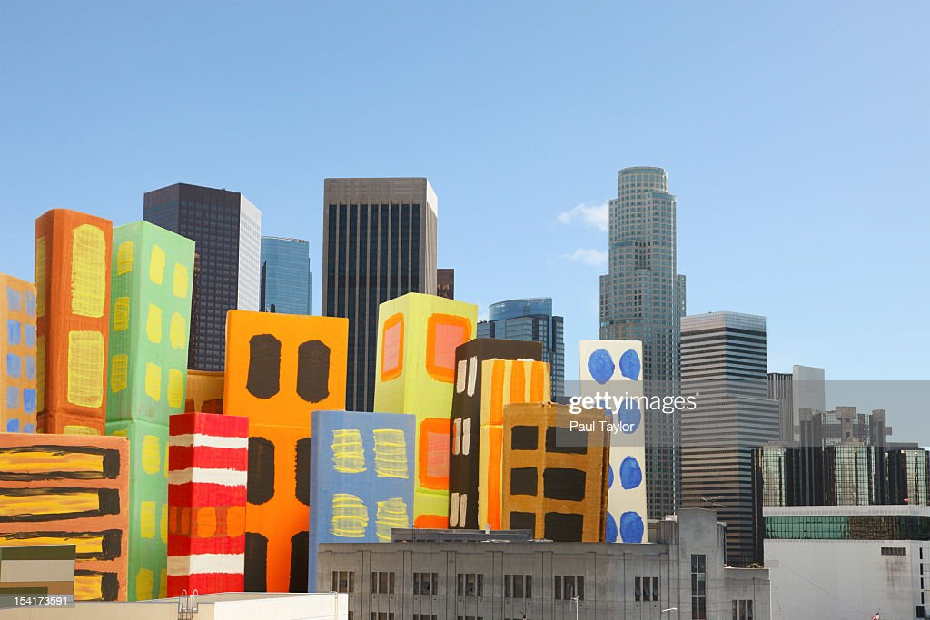 Cardboard Buildings in Cityscape : Stock Photo