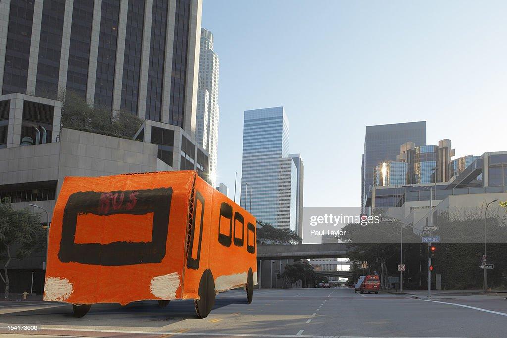 Cardboard City Bus : Stock Photo