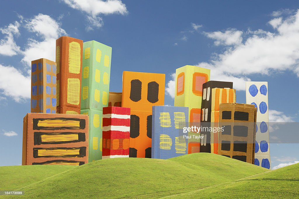 Cardboard City with Green Hills : Stock Photo
