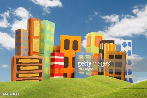 Cardboard City with Green Hills : Foto de stock