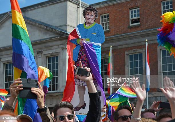 A cardboard cut out of popular television character Mrs Brown played by Irish actor Brendan O'Carroll is held high as supporters in favour of samesex...