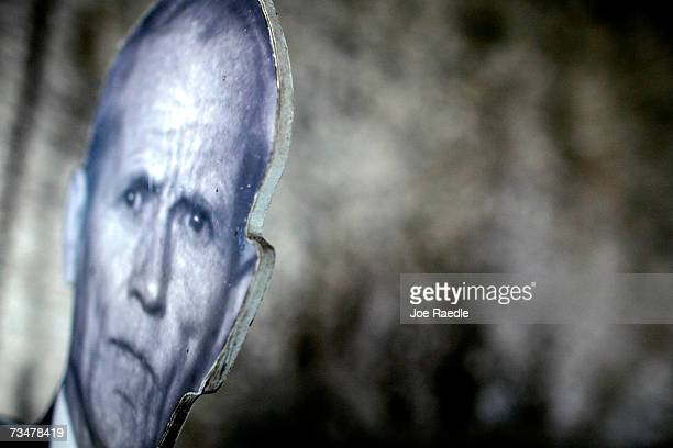 A cardboard cutout of Ed Leedskalnin is seen in his sculpted coral rock castle that he finished building in 1951 March 2 2007 in Homestead Florida...