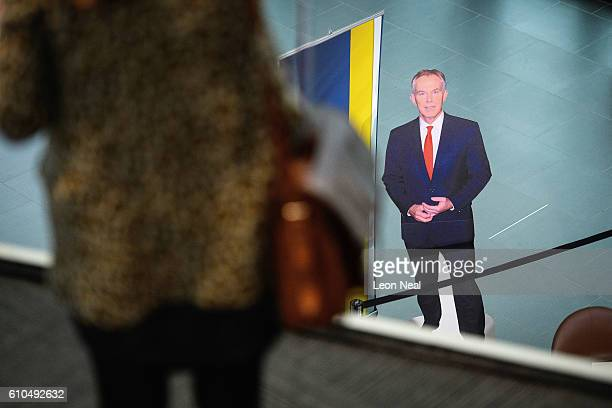 A cardboard cutout standee of former British Prime Minister Tony Blair is seen on the second day of the Labour Party conference on September 26 2016...