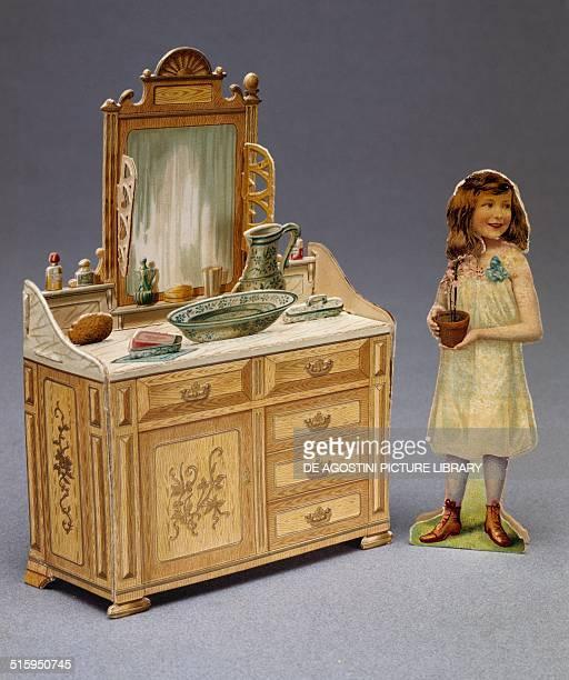 Cardboard dressing table ca 1910 dolls' house France 20th century Milan Museo Del Giocattolo E Del Bambino