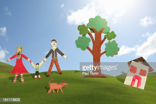 Cardboard Family with House : Stock Photo