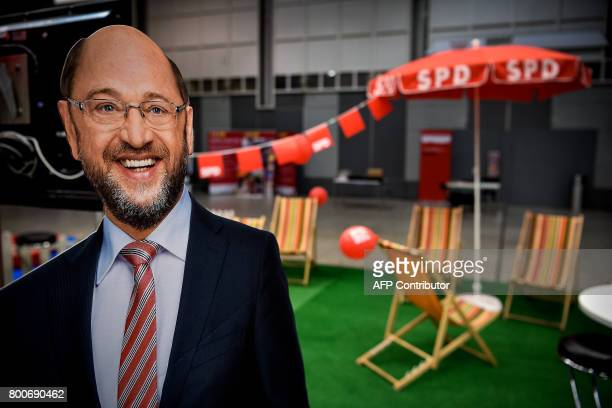 A cardboard featuring Martin Schulz the Social Democrat's party candidate for Chancellor and party chairman stands in the Westphalia Hall ahead of...