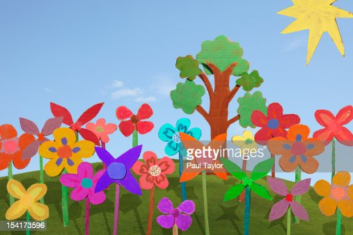 Cardboard Flowers and Tree : Stock Photo