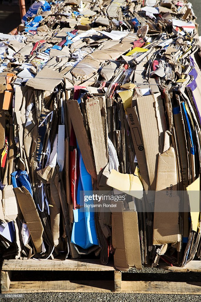 Cardboard for recycling : Stock Photo