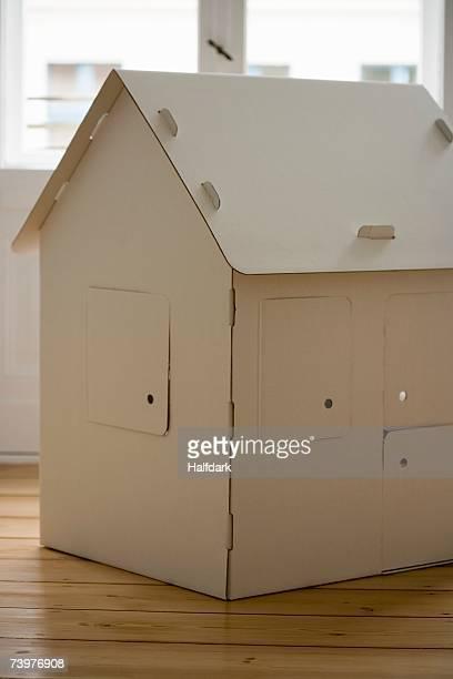 A cardboard house