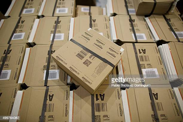 Cardboards for packing sit on a pallet at the Amazon fulfillment centre on December 3 2015 in San Fernando de Henares Madrid Spain Amazon recruited...