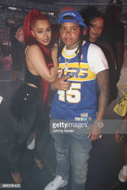 Cardi B and Young MA backstage at the 2017 Hot 97 Summer Jam at MetLife Stadium on June 11 2017 in East Rutherford New Jersey