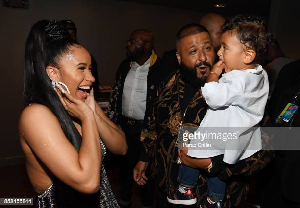 Cardi B DJ Khaled and Asahd Khaled attend the BET Hip Hop Awards 2017 at The Fillmore Miami Beach at the Jackie Gleason Theater on October 6 2017 in...
