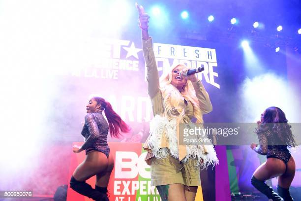 Cardi B performs onstage at the Main Stage Performances during the 2017 BET Experience at Los Angeles Convention Center on June 24 2017 in Los...