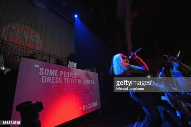 Cardi B performs onstage during BACARDI presents Dress To Be Free with performances by Cardi B and Les Twins at House of Yes on October 30 2017 in...