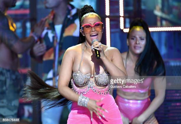 Cardi B performs onstage during the BET Hip Hop Awards 2017 at The Fillmore Miami Beach at the Jackie Gleason Theater on October 6 2017 in Miami...