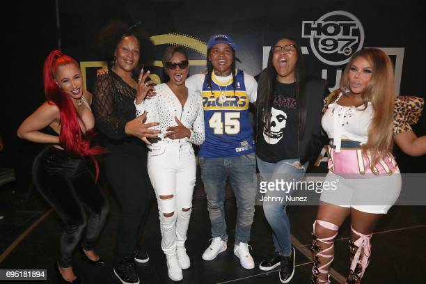 Cardi B The Lady of Rage MC Lyte Young MA Monie Love Lil Kim pose backstage at the 2017 Hot 97 Summer Jam at MetLife Stadium on June 11 2017 in East...