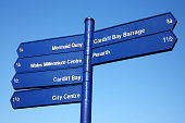 Cardiff Bay Wales street signpost giving directions to some of the cities most popular landmark attractions