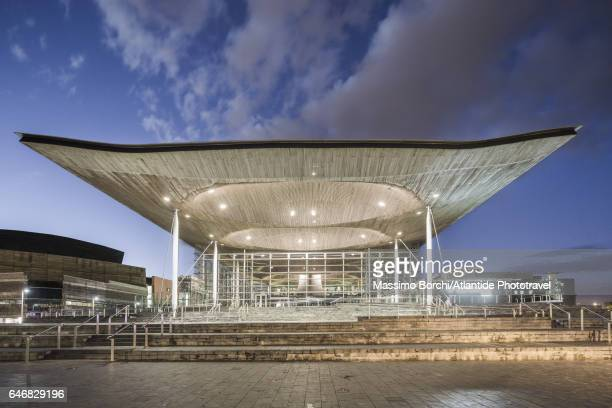 Cardiff Bay, the exterior of the Senedd (National Assembly Building, Richard Rogers architect)