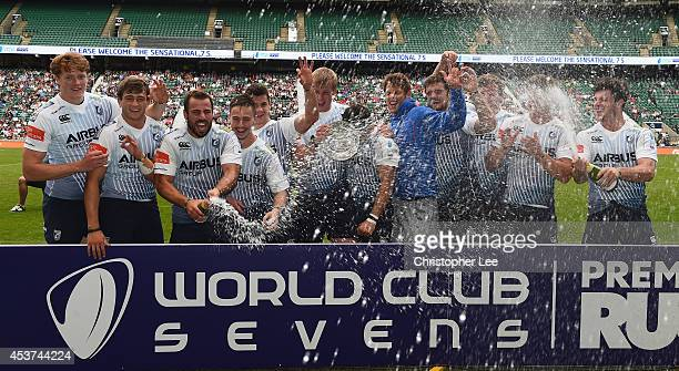 Cardiff Blues celebrates their victory with the Plate Trophy during the Plate Trophy Final match between Cardiff Blues and Vodacom Blue Bulls during...
