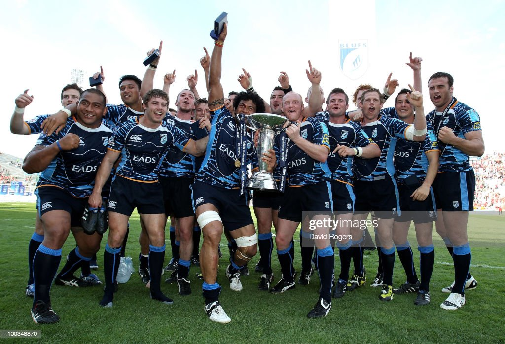 Cardiff celebrate their victory after the Amlin Challenge Cup Final between Toulon and Cardiff Blues at Stade Velodrome on May 23, 2010 in Marseille, France.