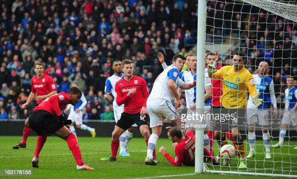 Cardiff City forward Fraizer Campbell heads home the first Cardiff goal during the npower Championship match between Cardiff City and Blackburn...