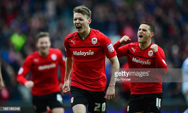 Cardiff City forward Joe Mason celebrates after scoring the second Cardiff goal during the npower Championship match between Cardiff City and...