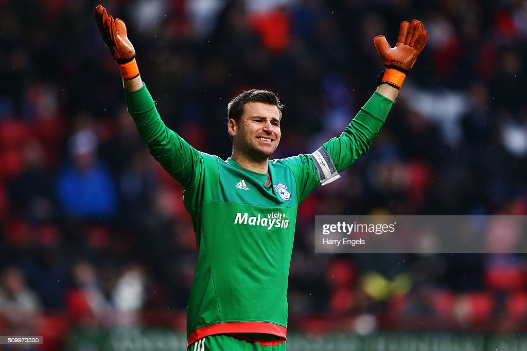 Cardiff City goalkeeper David Marshall gestures during the Sky Bet Championship match between Charlton Athletic and Cardiff City at The Valley on February 13, 2016 in London, United Kingdom.
