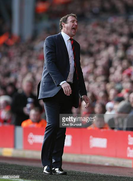 Cardiff City manager Malky Mackay shows his emotions during the Barclays Premier League match between Liverpool and Cardiff City at Anfield at...