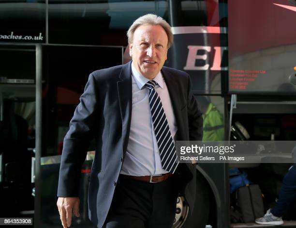 Cardiff City manager Neil Warnock arrives before the Sky Bet Championship match at the Riverside Stadium Middlesbrough