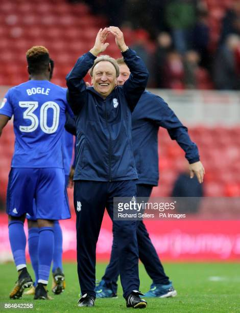 Cardiff City manager Neil Warnock celebrates after the Sky Bet Championship match at the Riverside Stadium Middlesbrough