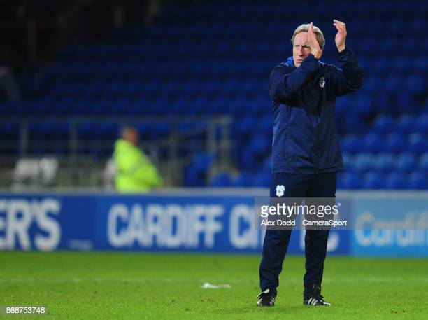 Cardiff City manager Neil Warnock celebrates his sides victory during the Sky Bet Championship match between Sunderland and Bolton Wanderers at...