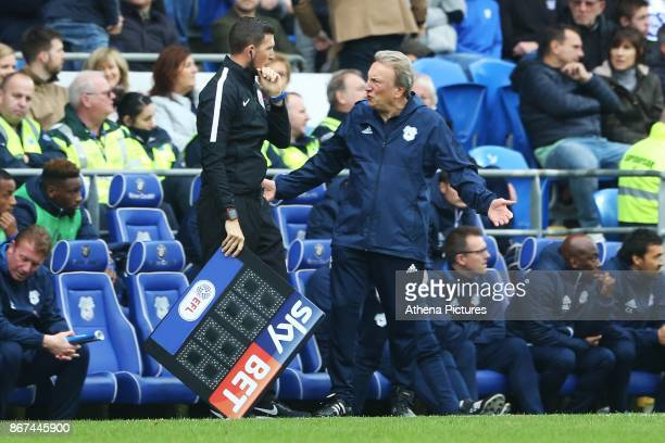 Cardiff City manager Neil Warnock complains to the fourth official during the Sky Bet Championship match between Cardiff City and Millwall at The...