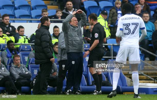 Cardiff City Manager Neil Warnock disagrees with referee James Linington during the Sky Bet Championship match between Cardiff City and Ipswich Town...