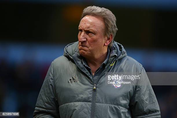 Cardiff City manager Neil Warnock during the Sky Bet Championship match between Aston Villa and Cardiff City at Villa Park on November 26 2016 in...