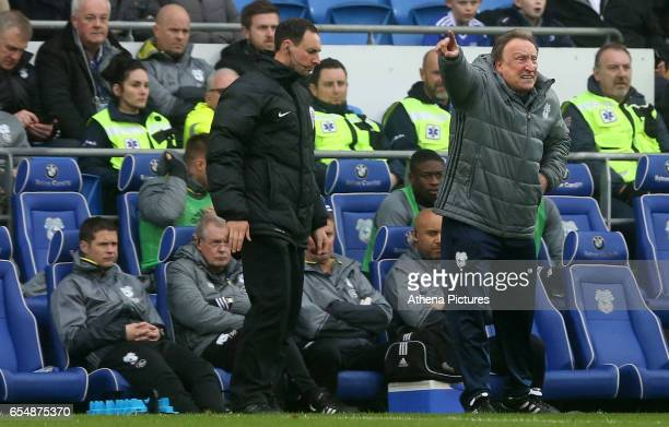 Cardiff City Manager Neil Warnock during the Sky Bet Championship match between Cardiff City and Ipswich Town at The Cardiff City Stadium on March 18...