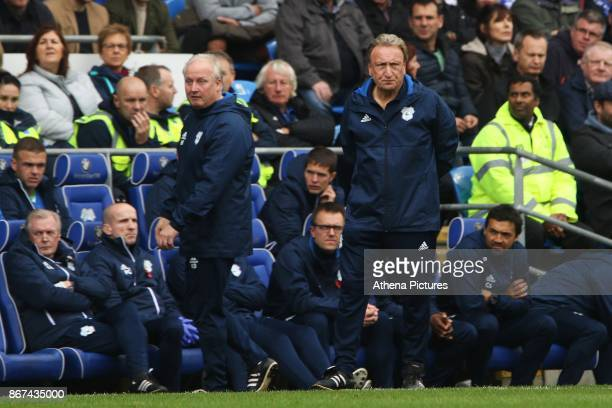 Cardiff City manager Neil Warnock during the Sky Bet Championship match between Cardiff City and Millwall at The Cardiff City Stadium on October 28...