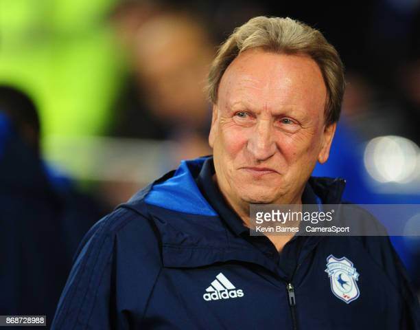Cardiff City manager Neil Warnock during the Sky Bet Championship match between Cardiff City and Ipswich Town at Cardiff City Stadium on October 31...