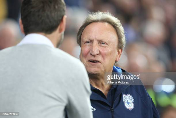 Cardiff City manager Neil Warnock shakes hands with Leeds United head coach Thomas Christiansen prior to kick off of the Sky Bet Championship match...