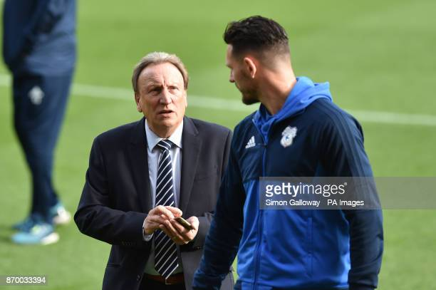 Cardiff City manager Neil Warnock with Sam Marrison before the Sky Bet Championship match at Ashton Gate Bristol