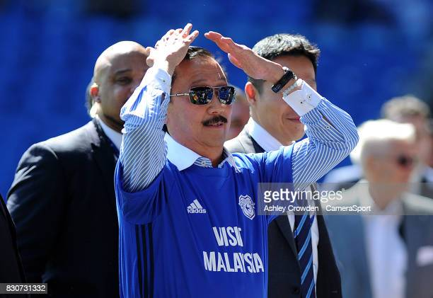Cardiff City owner Vincent Tan does the ayotollah to the home supporters during the Sky Bet Championship match between Cardiff City and Aston Villa...