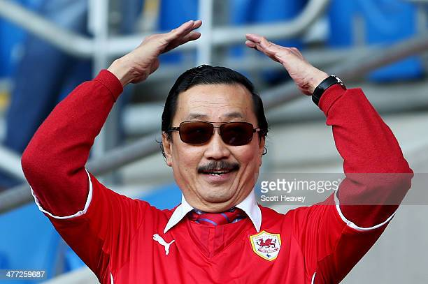 Cardiff City owner Vincent Tan looks on prior to the Barclays Premier League match between Cardiff City and Fulham at Cardiff City Stadium on March 8...