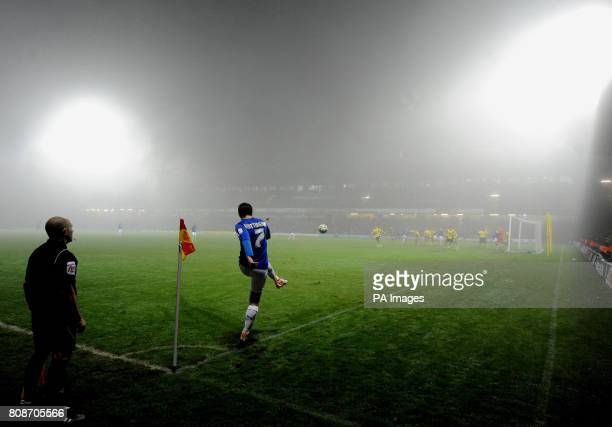 Cardiff City Peter Whittingham takes a corner for as fog envelops Vicarage Road during the npower Championship match at Vicarage Road Watford