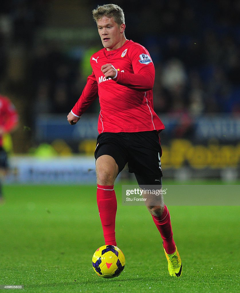 Cardiff City player <a gi-track='captionPersonalityLinkClicked' href=/galleries/search?phrase=Andreas+Cornelius&family=editorial&specificpeople=8617821 ng-click='$event.stopPropagation()'>Andreas Cornelius</a> in action during the Barclays Premier League match between Cardiff City and Sunderland at Cardiff City Stadium on December 28, 2013 in Cardiff, Wales.