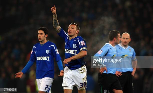 Cardiff City striker Craig Bellamy celebrates scoring the second goal during the npower Championship game between Cardiff City and Coventry City at...