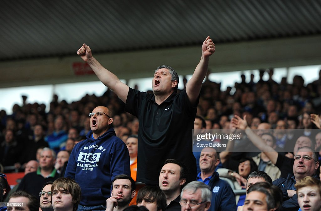Cardiff City supporters enjoy the atmosphere during the Barclays Premier League match between Southampton and Cardiff City at St Mary's Stadium on April 12, 2014 in Southampton, England.