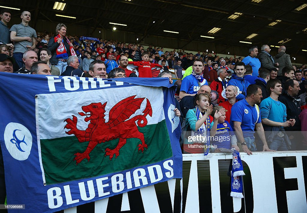 Cardiff City supporters look on during the npower Championship match between Burnley and Cardiff City at Turf Moor on April 20, 2013 in Burnley, England.